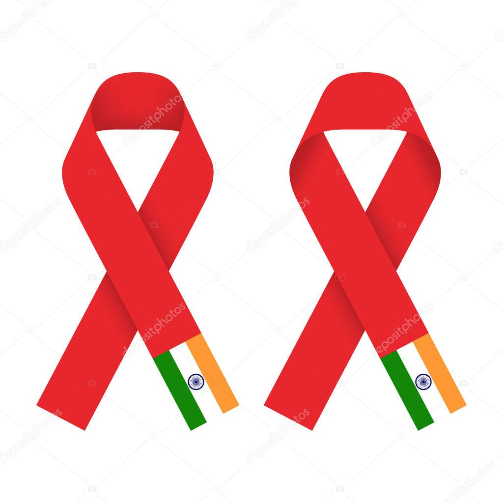 Red Ribbon Aids Hiv Icon With India Flag Concept Illustration