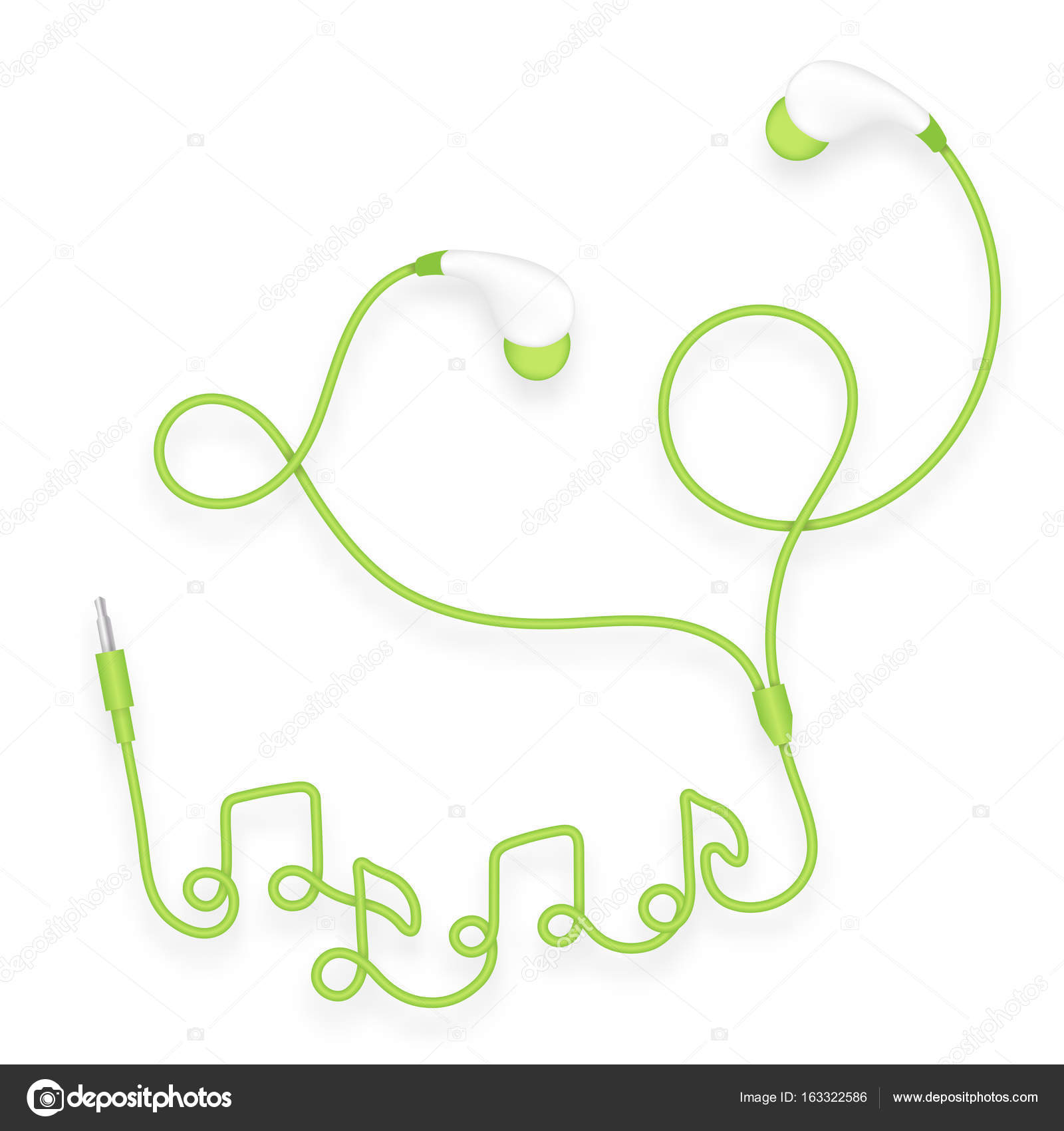 Earphones In Ear Type Green Color And Music Note Symbol Made From