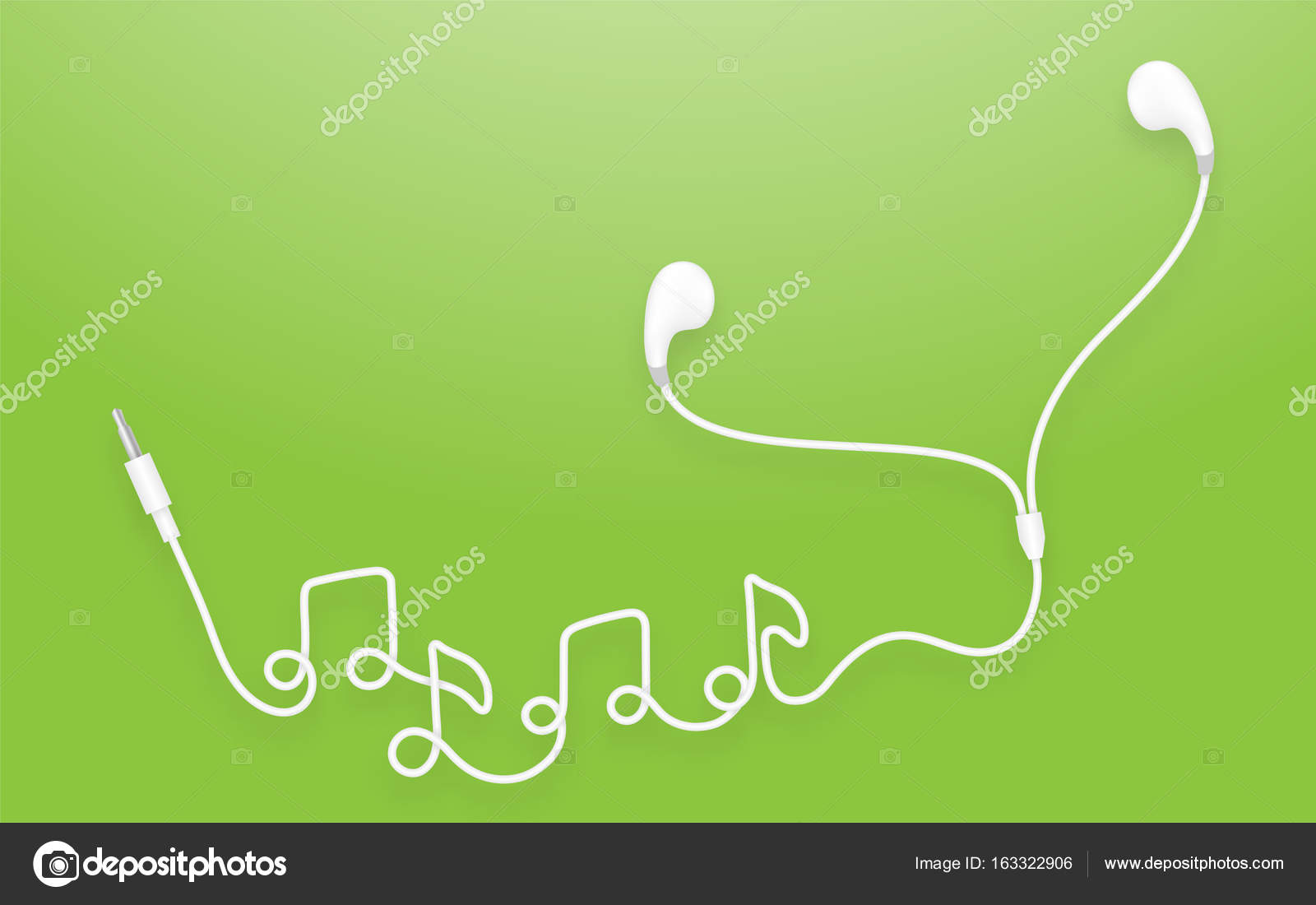 Earphones Earbud Type White Color And Music Note Symbol Made From