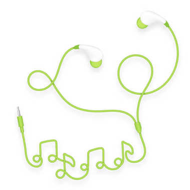 Earphones, In Ear type green color and music note symbol made from cable