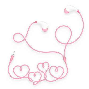Earphones, In Ear type pink color and heart symbol made from cable