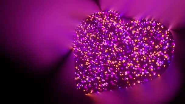 Szív szerelem jel és szimbólum világít futurisztikus részecske 3d renderelés kocka poligon minta, Közösségi média szerelem társkereső hálózat technológia koncepció tervezés fekete háttér animáció 4k másolási hely
