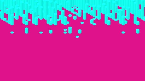 Palack bar 3D virtuális izometrikus shuffle hullám minta, Blokklánc technológia koncepció tervezés illusztráció kék szín rózsaszín háttér animáció 4K, másolási hely