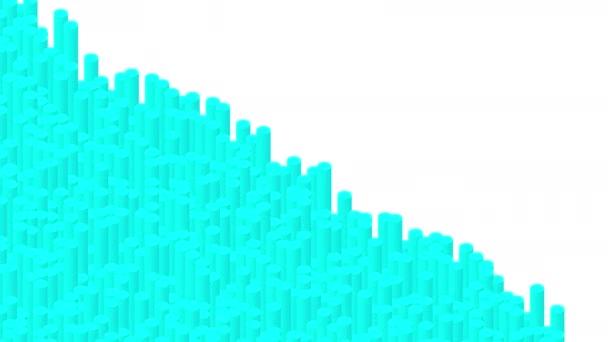 Palack bar 3D virtuális izometrikus shuffle hullám minta, Blokklánc technológia koncepció tervezés illusztráció kék szín fehér háttér zökkenőmentes hurkolás animáció 4K, másolási hely
