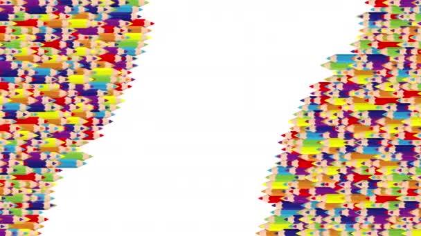 Bleistiftleiste 3D virtuelle isometrische Shuffle-Wellenmuster, Ausbildung oder Business-Schreibwaren Konzeption Illustration auf weißem Hintergrund nahtlose Looping-Animation 4K, mit Kopierraum