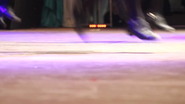 Women stepping Irish dance with traditional shoes at celtic festival