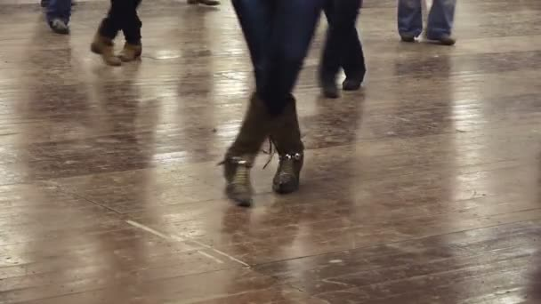 bf883f80e22 Woman dancing line dance country music cowboy — Stock Video ...