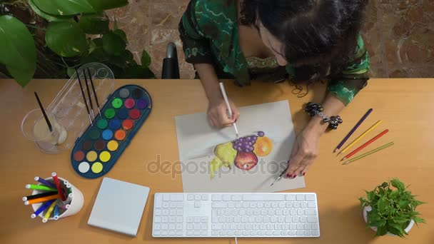 Woman drawing picture with pastels art still life creativity