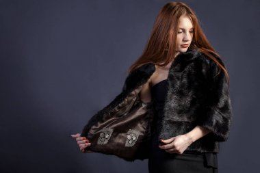 lady in elegant fur coat