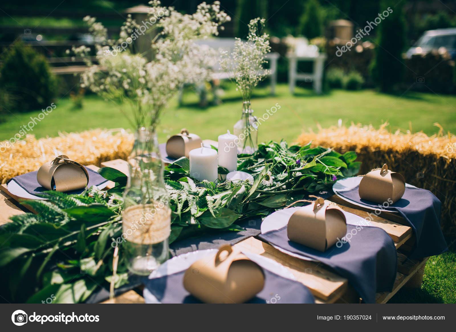 Wooden Table Setup Garden Party Dinner Reception U2014 Stock Photo