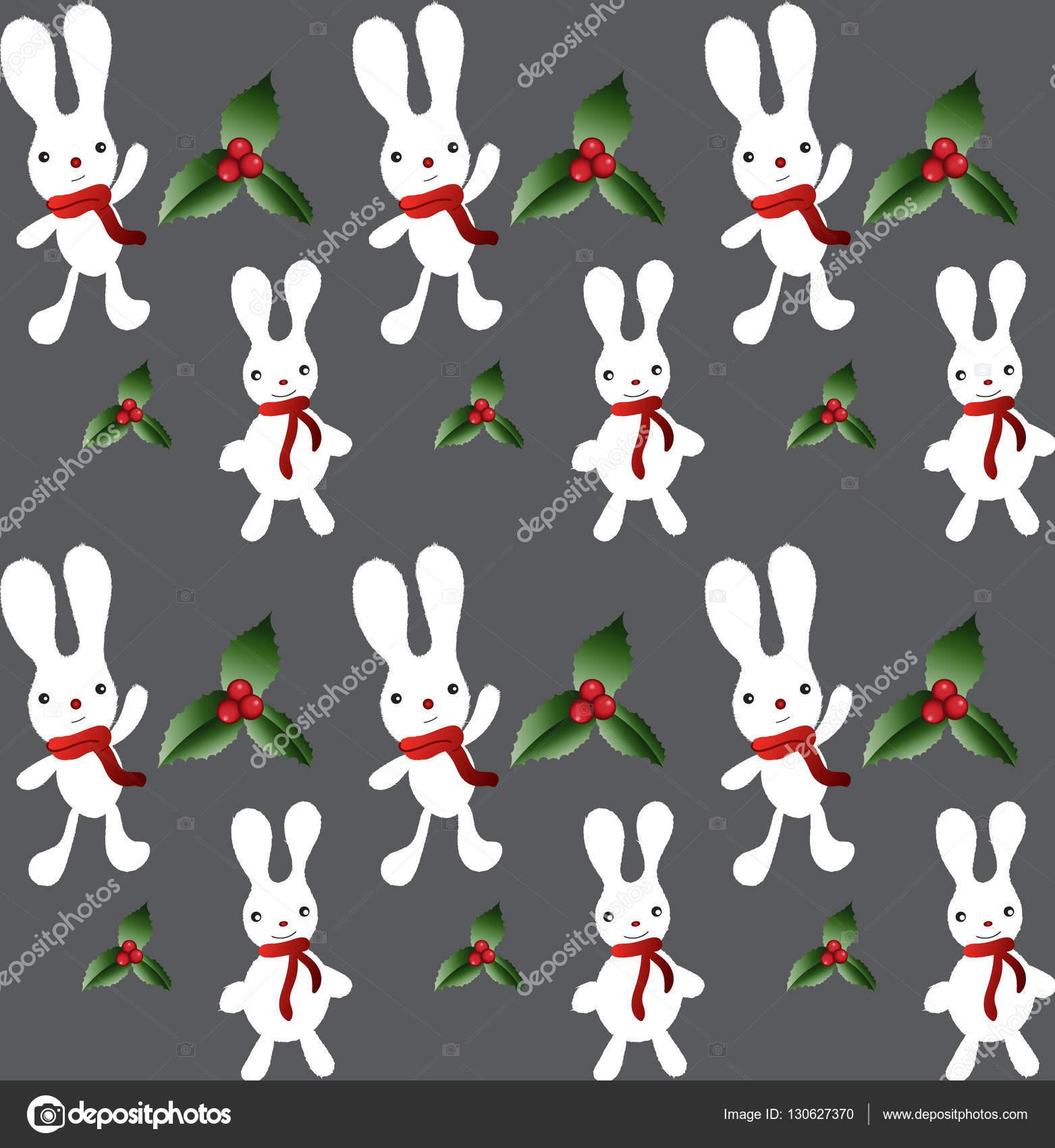 Patrón de conejo de Navidad Vector — Vector de stock © ChooStudio ...