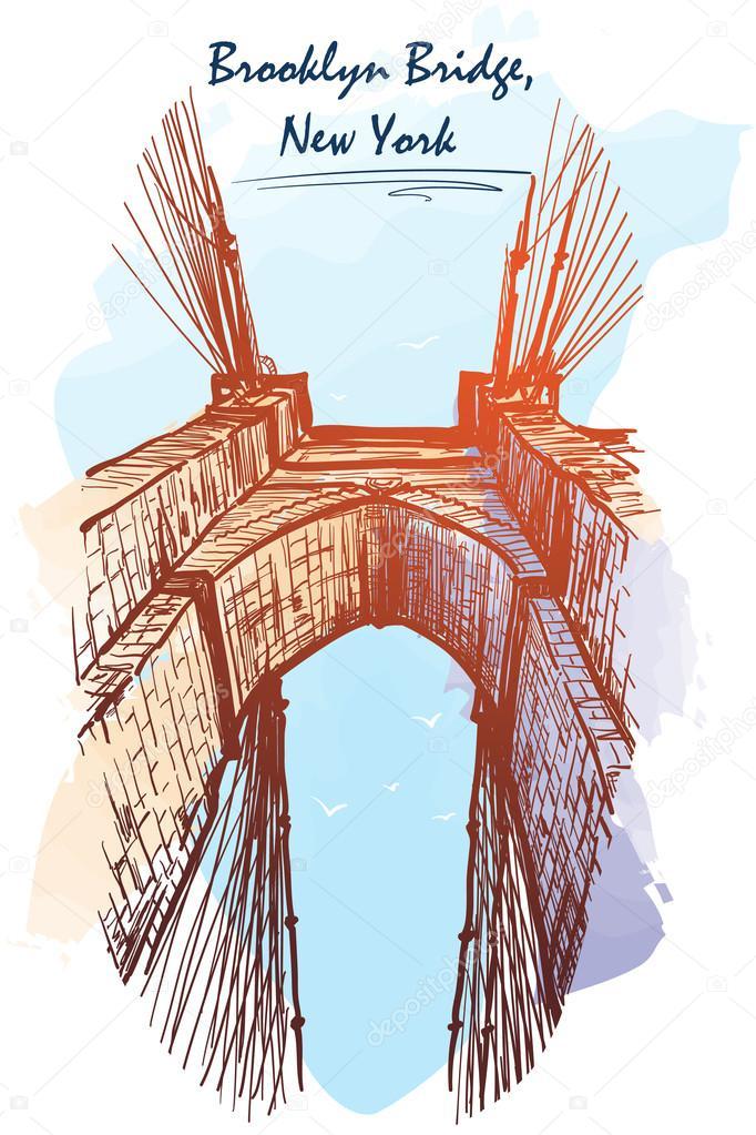 architectural drawings of bridges.  Bridges Brooklyn Bridge Travel Sketchbook Illustration Architectural Drawing  Watercolor Imitating Painted Sketch EPS10 Vector U2014 Aen_Seidhe On Drawings Of Bridges