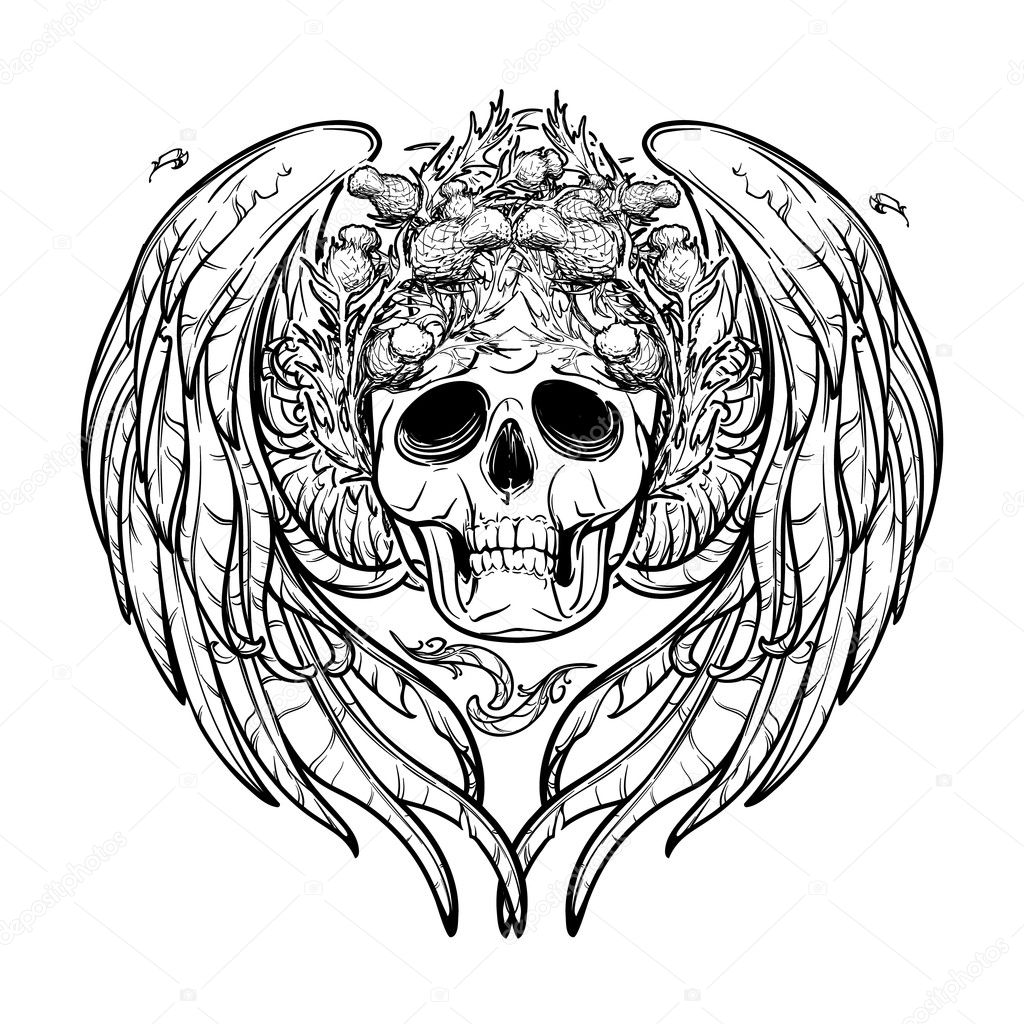 Skull In Wreath With Wings Black And White Isolated