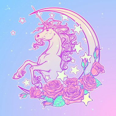 Kawaii Night sky composition with Unicorn Roses,, stars and moon crescent. Festive background or greeting card. Pastel goth palette. Cute girly gothic style art. EPS10 vector illustration stock vector