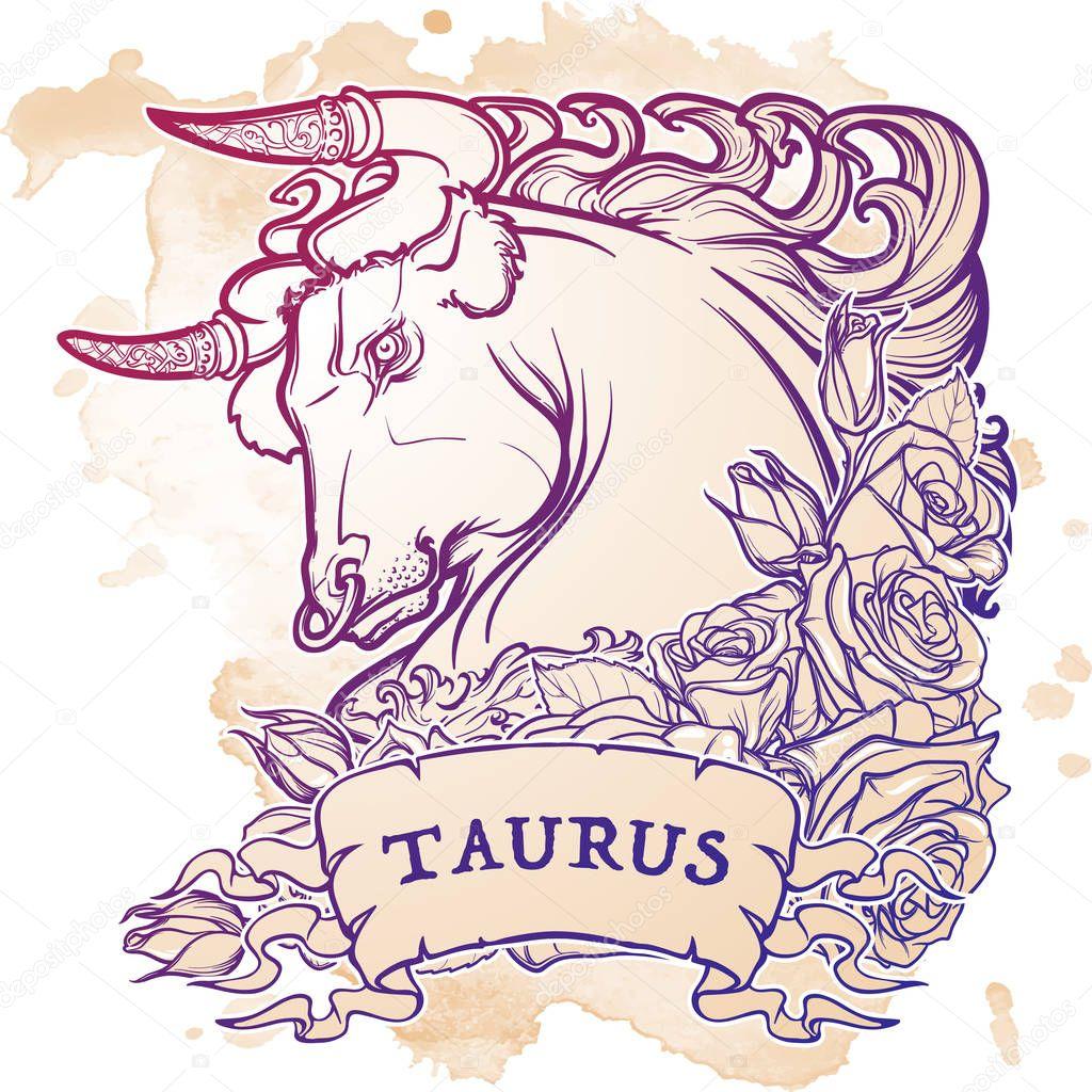 Astrologische Taurus auf Grunge Hintergrund isoliert — Stockvektor ...