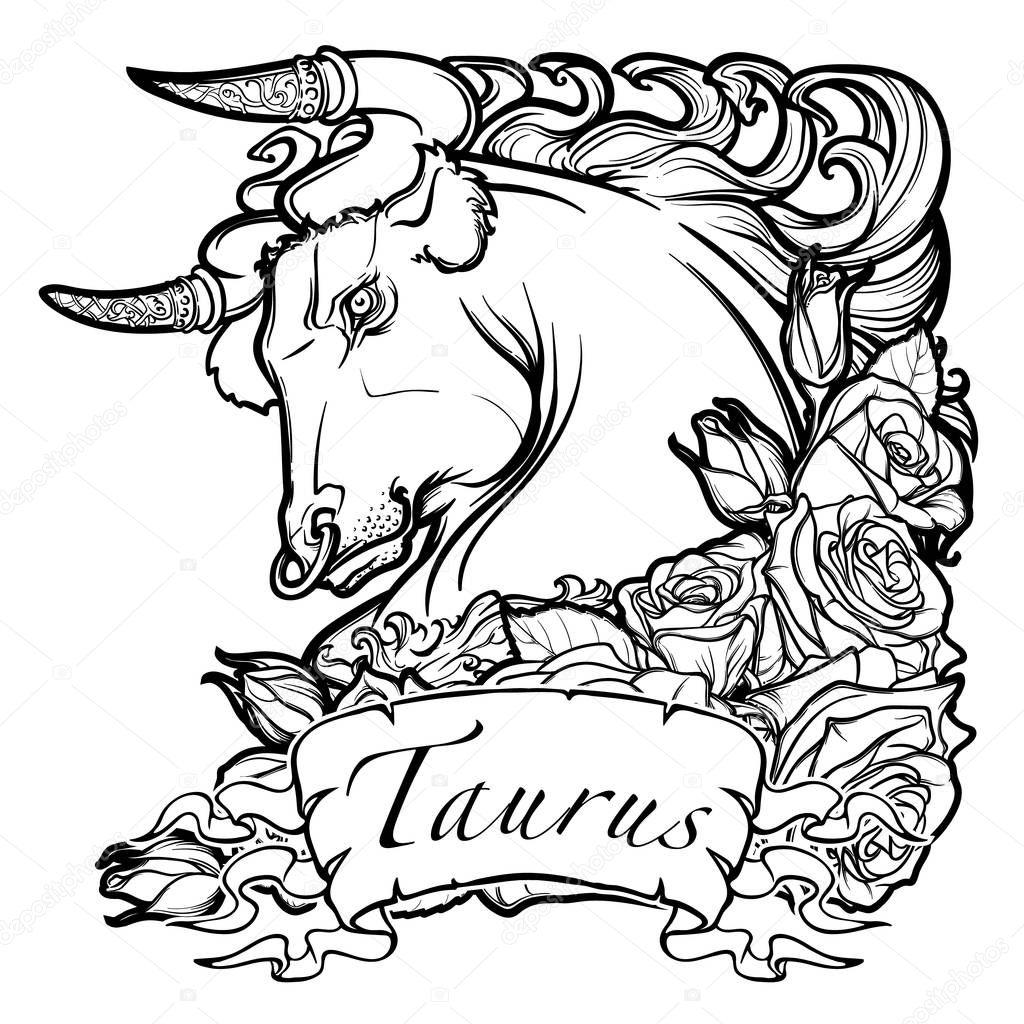 Astrologische Taurus isoliert auf weißem Hintergrund — Stockvektor ...