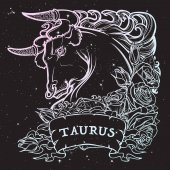 Photo Astrological Taurus isolated on starry sky background.