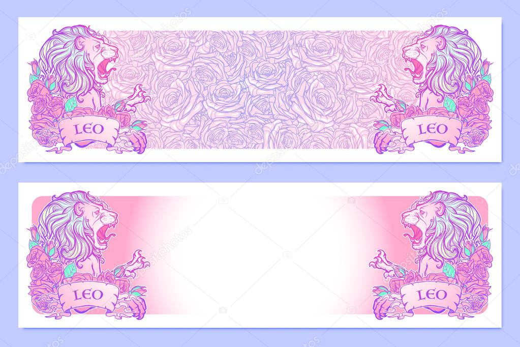 Horizontal Banners With Zodiac Leo And A Decorative Frame Of Roses Astrology Web Element Tattoo Design Sketch In Pastel Pallette Isolated On Elegant Pattern Background Eps10 Vector Illustration Premium Vector In