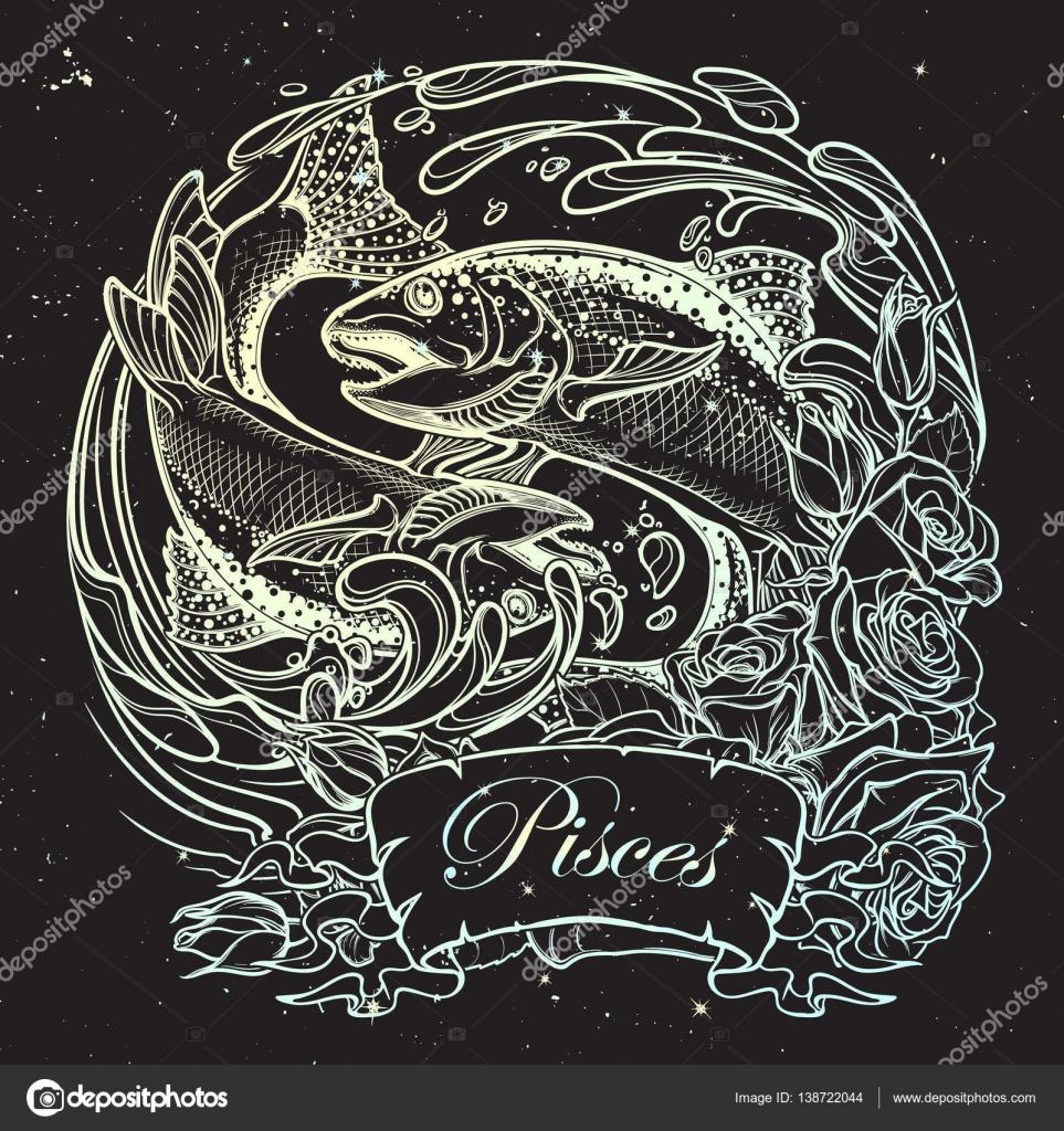 Signo del zodiaco - Piscis. Dos peces saltando desde el bosquejo de ...