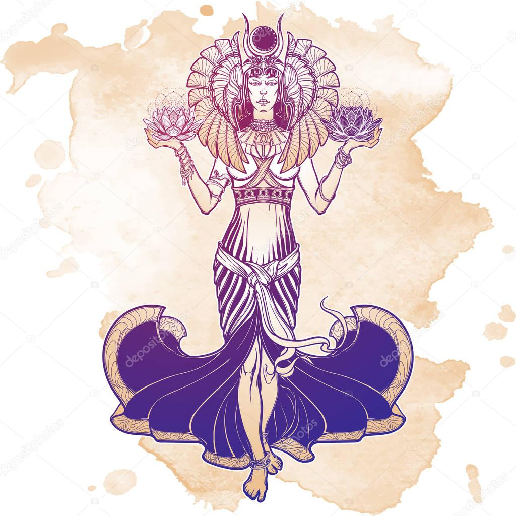 Illustration of libra zodiac sign as a beautiful Egyptian Goddess. Vector .