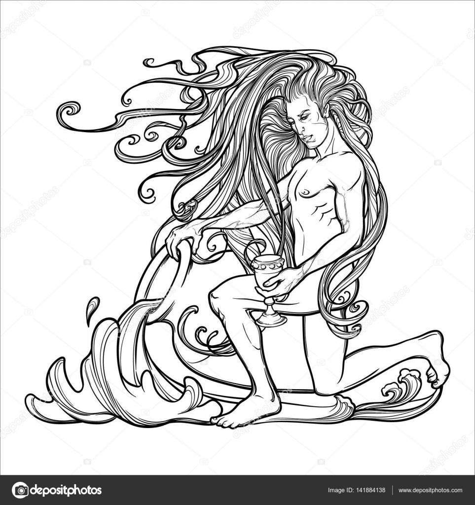 Signe Du Zodiaque Verseau Beau Jeune Homme Aux Cheveux Longs