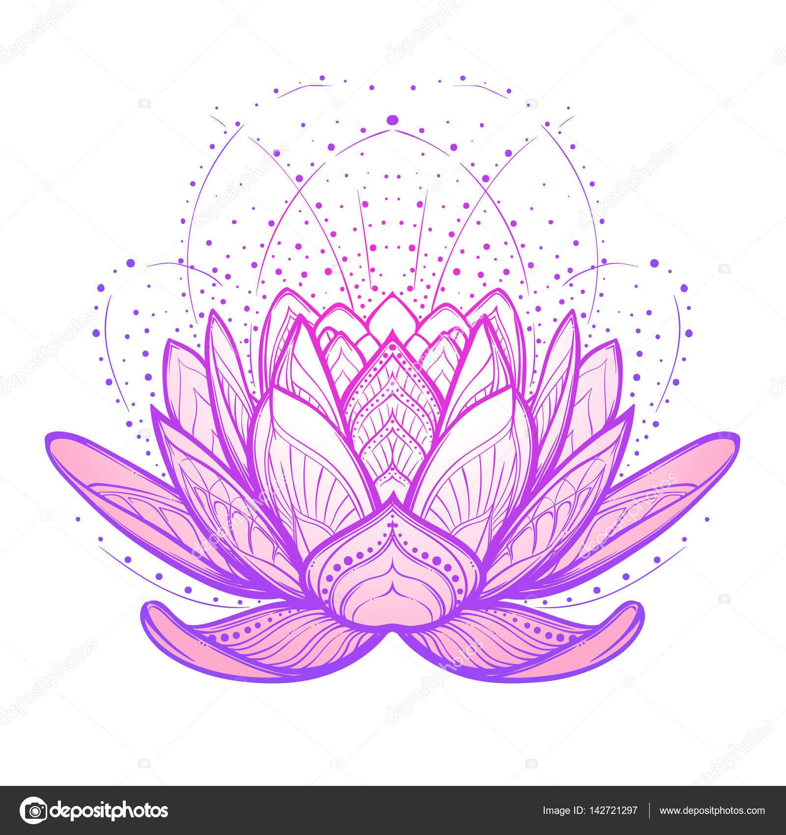 Flor de loto. Intrincado dibujo lineal estilizada aislada sobre ...