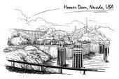 Staudamm atemberaubende Aussicht. Schwarz-weiße lineare Handzeichnung. Skizzenstil.