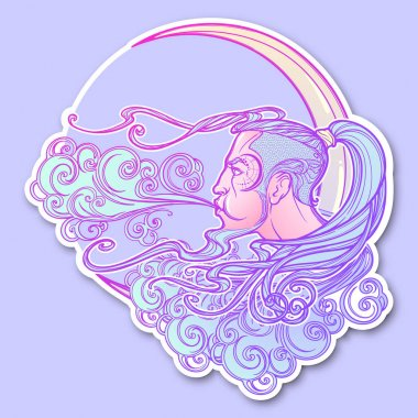 Decorative sticker. Fairytale style sun with a human face resting on a curly ornate cloud. Decorative element for tattoo textile prints or greeting card design