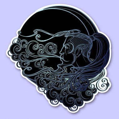 Antique style cartography Boreas wind icon. Male head resting on a curly ornate cloud and blowing wind . Decorative element for tattoo textile prints.