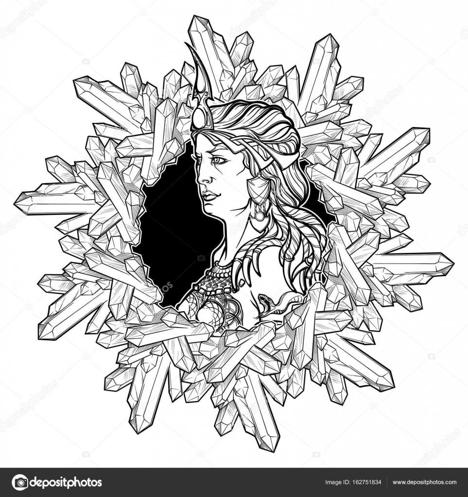 Exquisit Jungfrau Element Sammlung Von Alchemie-element Der Erde. Sternzeichen Jungfrau. Schöne Frau