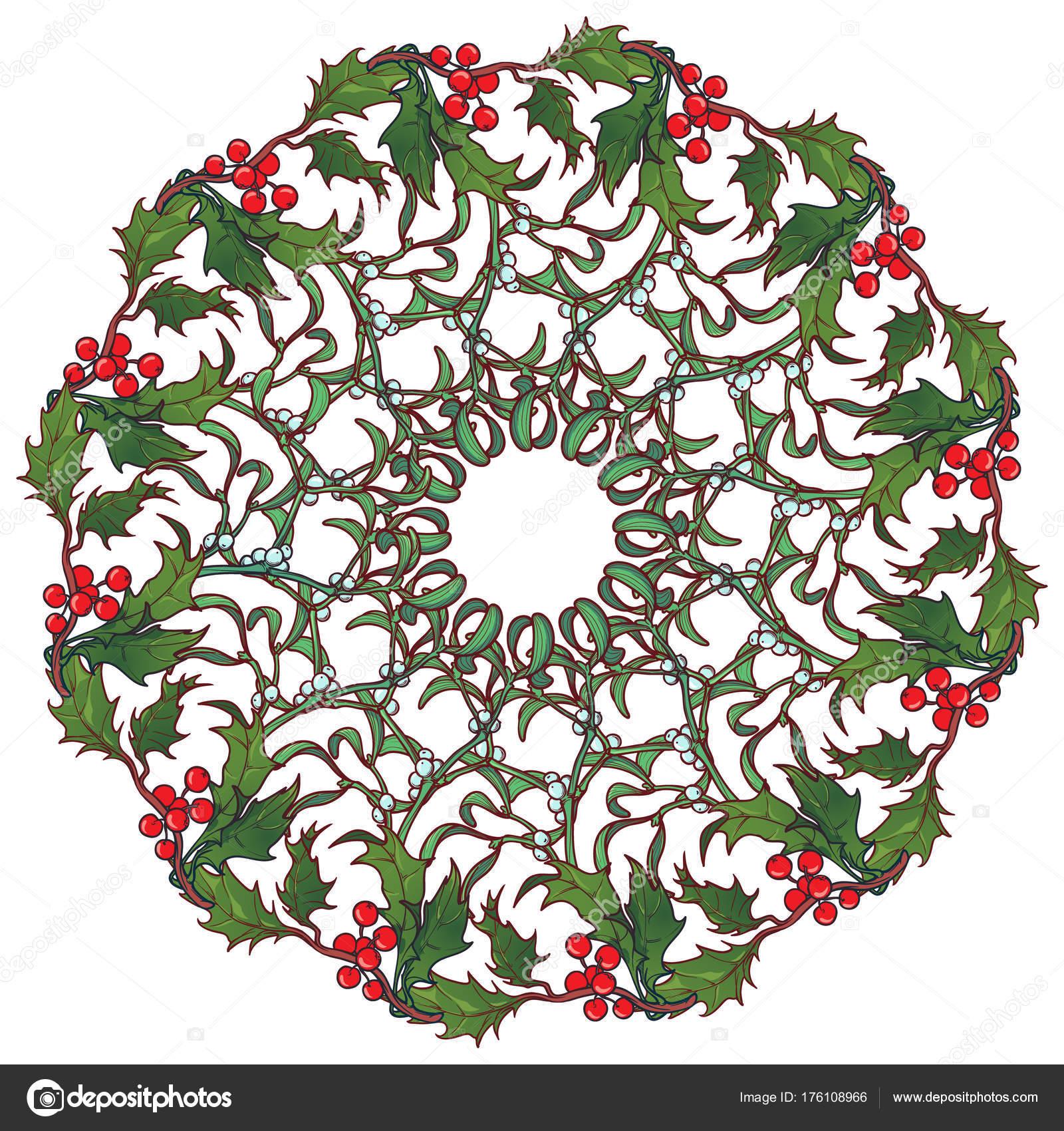 Cadre Circulaire Ornement De Noel Branches De Houx Et Sapins Avec