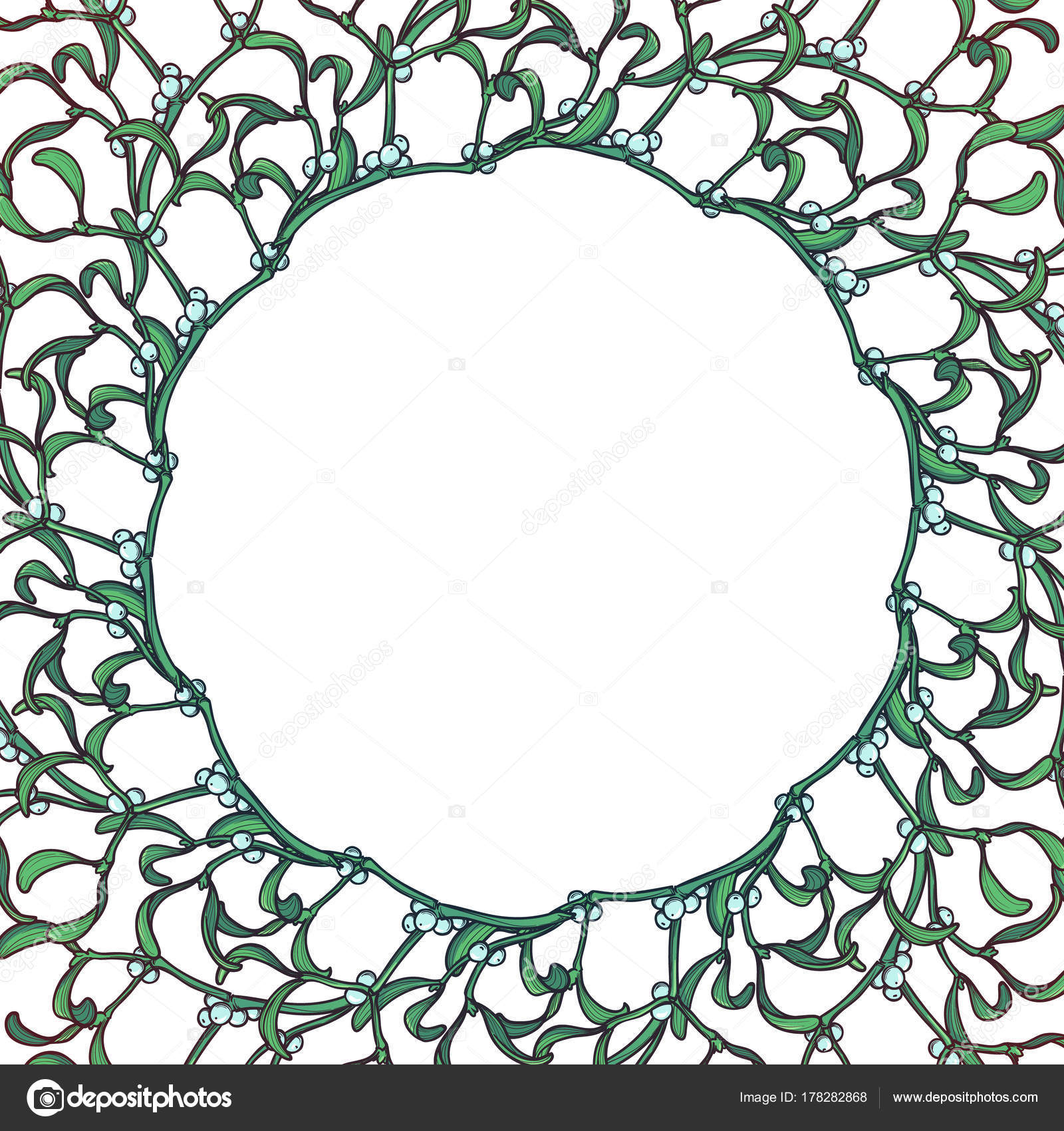 christmas floral circular frame mistletoe branches with leafs and