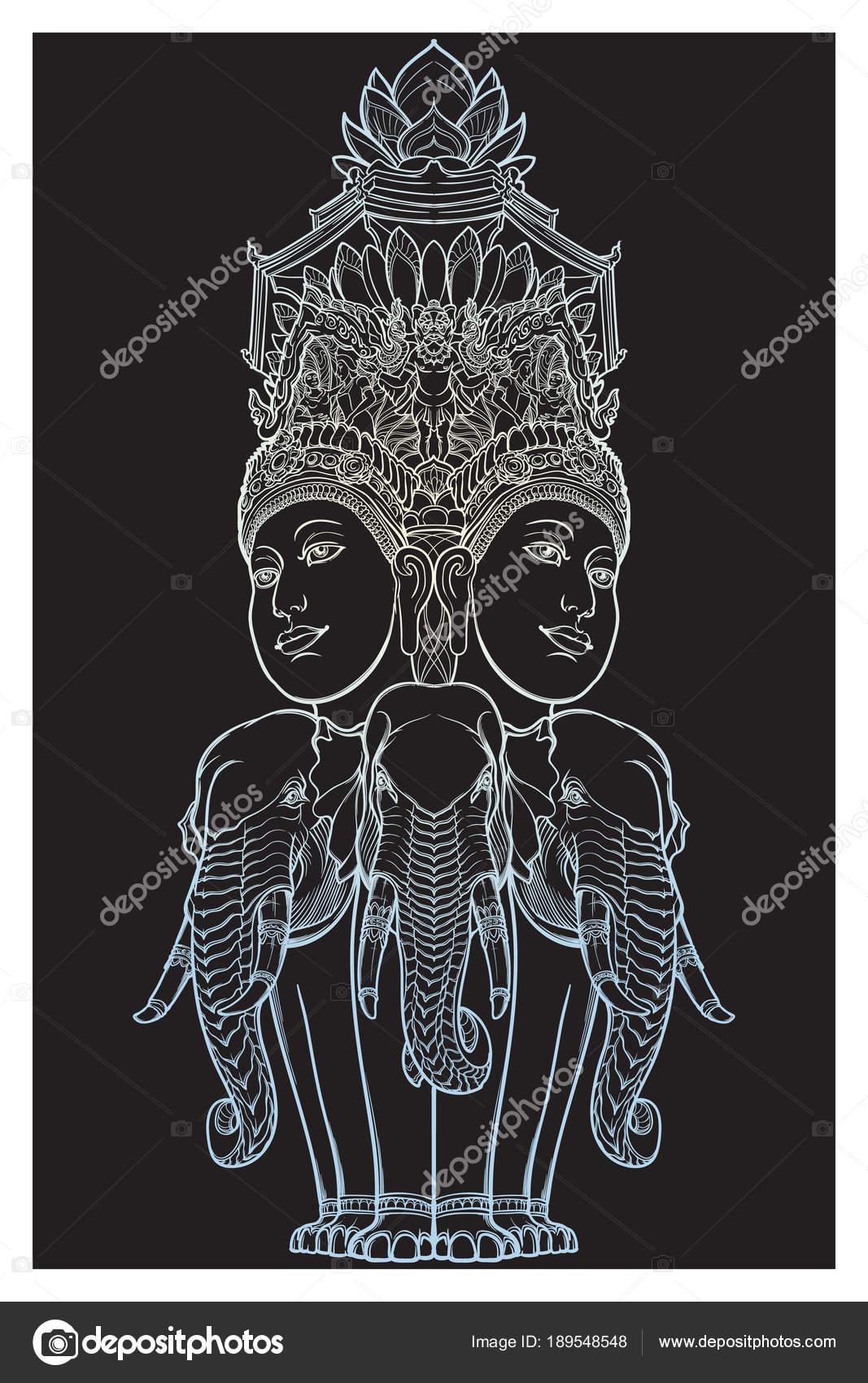 74882fda1c7c1 Statue representing Trimurti - trinity of Hindu gods Brahma, Vishnu and  Shiva, sitting on