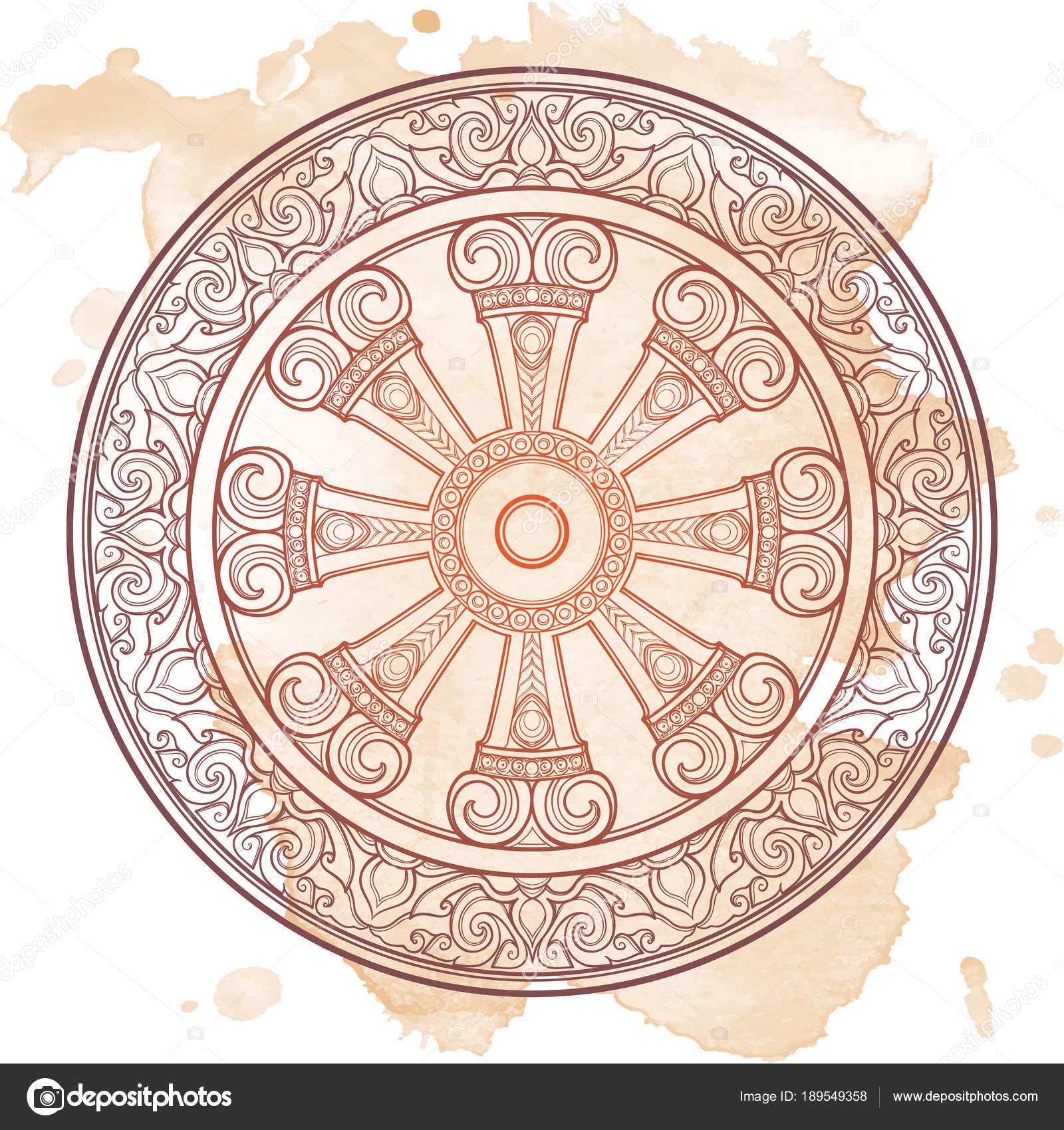 Dharma Wheel, Dharmachakra. Symbol of Buddhas teachings on ...