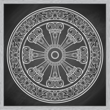 Dharma Wheel, Dharmachakra. Symbol of Buddhas teachings on the path to enlightenment, liberation from the karmic rebirth in samsara. Tattoo design. Chalk on a blackboard imitation. EPS10 vector stock vector