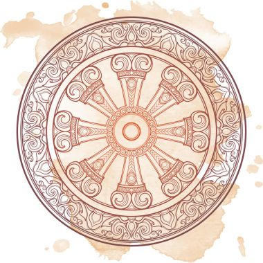 Dharma Wheel, Dharmachakra. Symbol of Buddhas teachings on the path to enlightenment, liberation from the karmic rebirth in samsara. Tattoo design. Textured background. EPS10 vector illustration stock vector