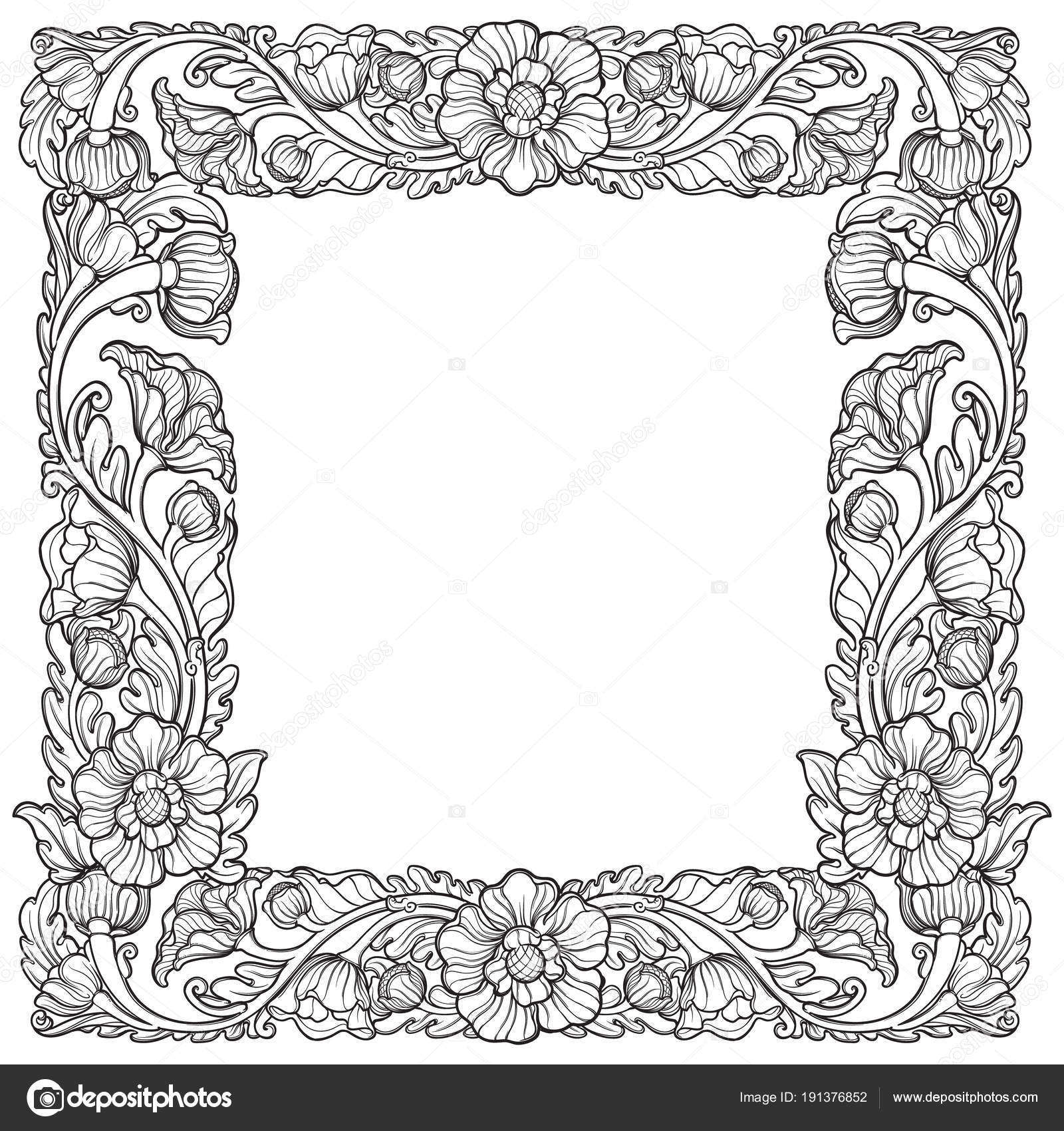 Flores de loto dispuestos en intrincados marco cuadrado. Motivo ...