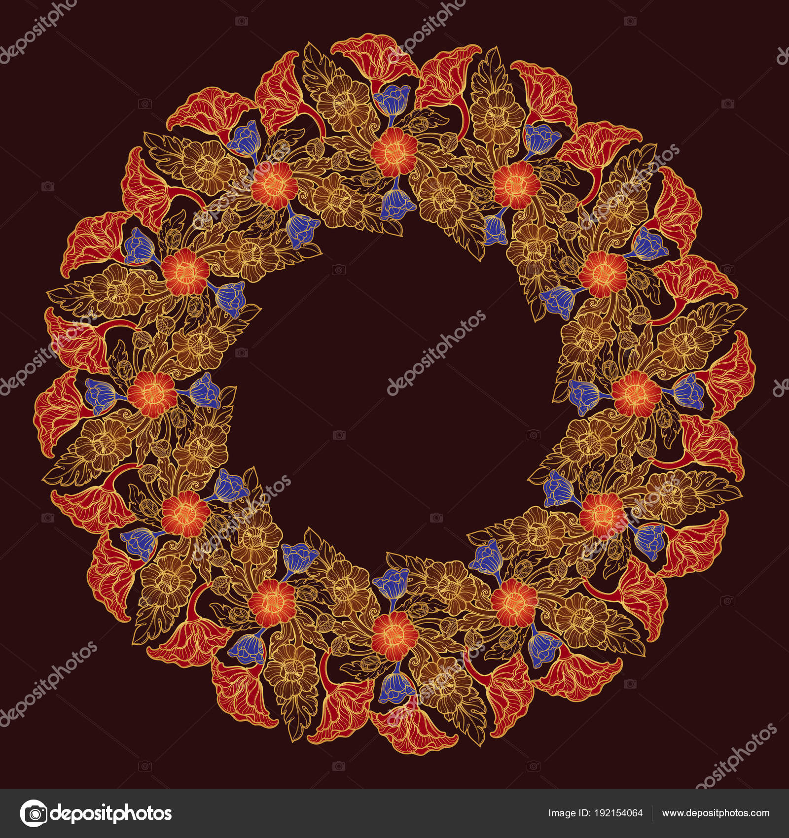 Flores de loto dispuestos en marco circular intrincado. Motivo ...