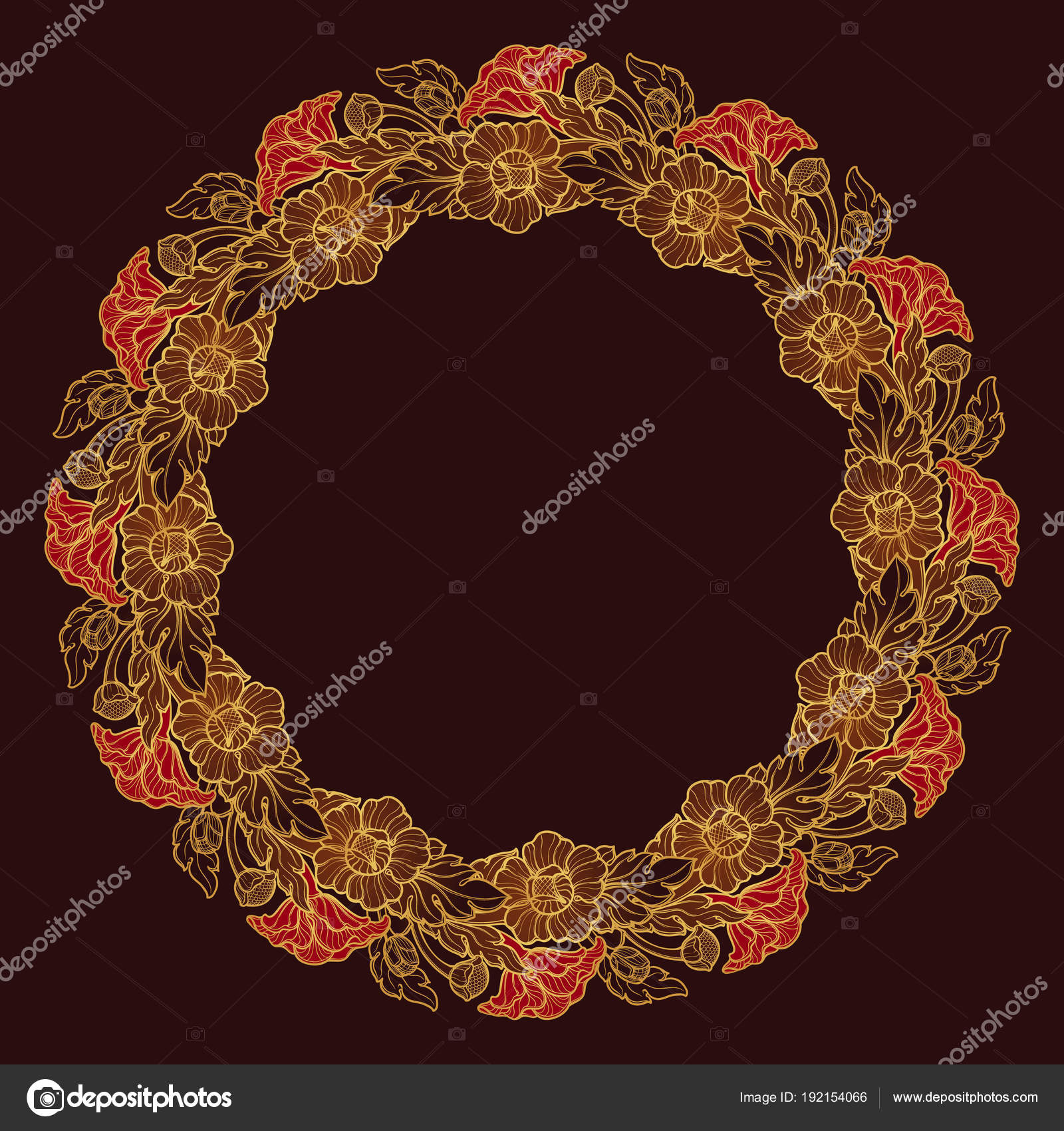 Lotus flowers arranged in intricate circular frame popular lotus flowers arranged in intricate circular frame popular decorative motif in south eastern asia mightylinksfo