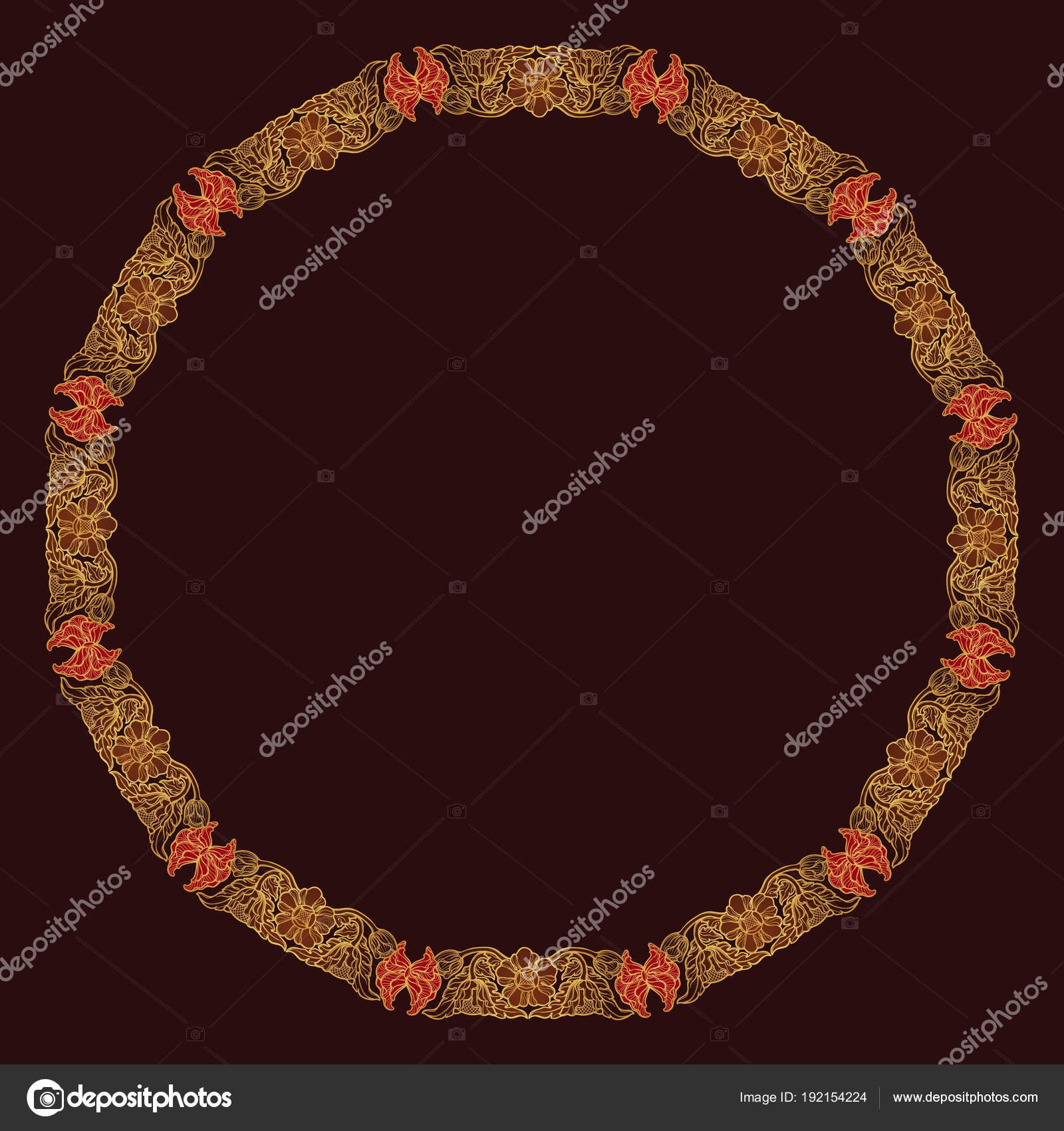 Lotusblumen in komplexe kreisförmige Rahmen angeordnet. Beliebtes ...