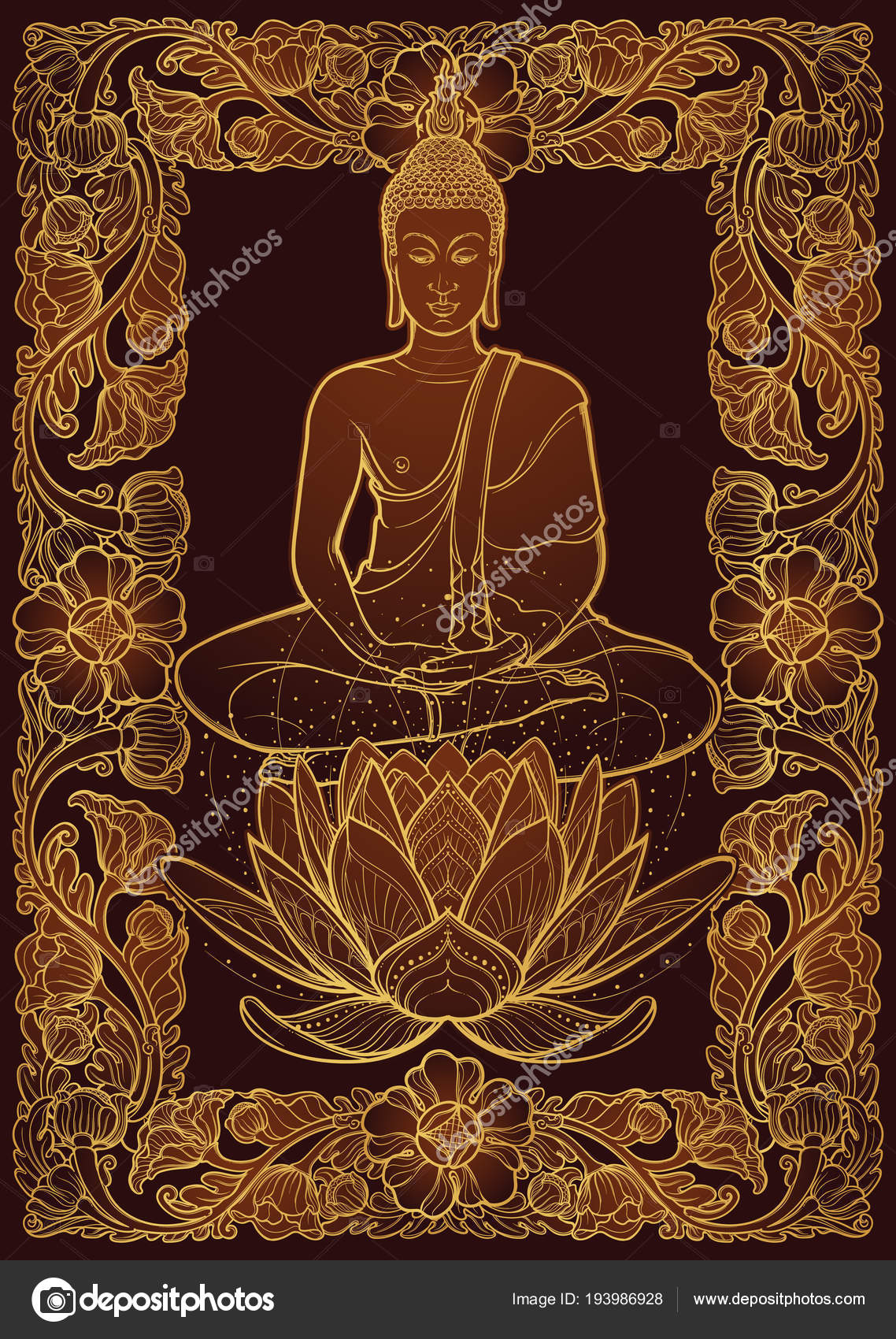 Buddha Sitting On A Lotus Flower And Meditating In The Single Lotus