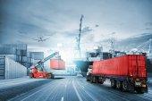 Import export zázemí a dopravní logistice nákladní kontejner nákladní lodi