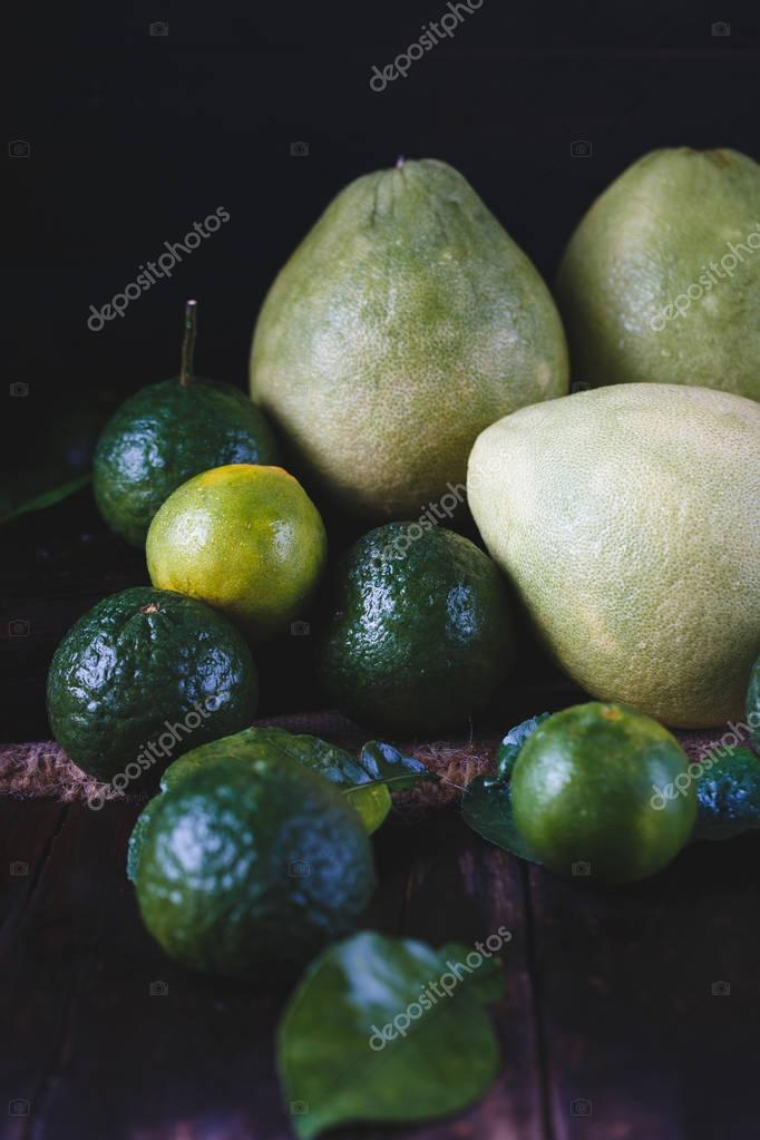 Green Pomelos, Green Oranges and Green Mandarins
