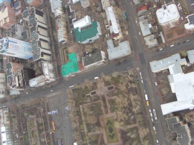 The neighborhoods of downtown Samara, top view