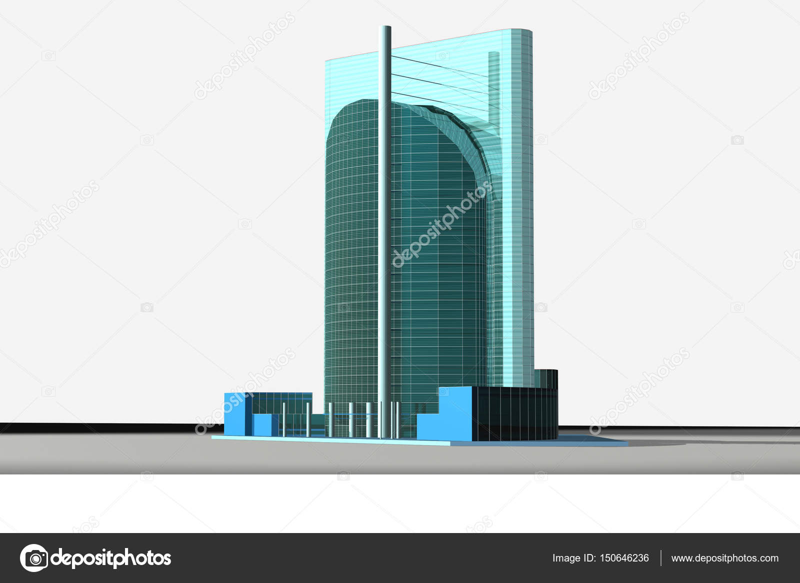 3D model of a skyscraper — Stock Photo © wwaawwaa #150646236