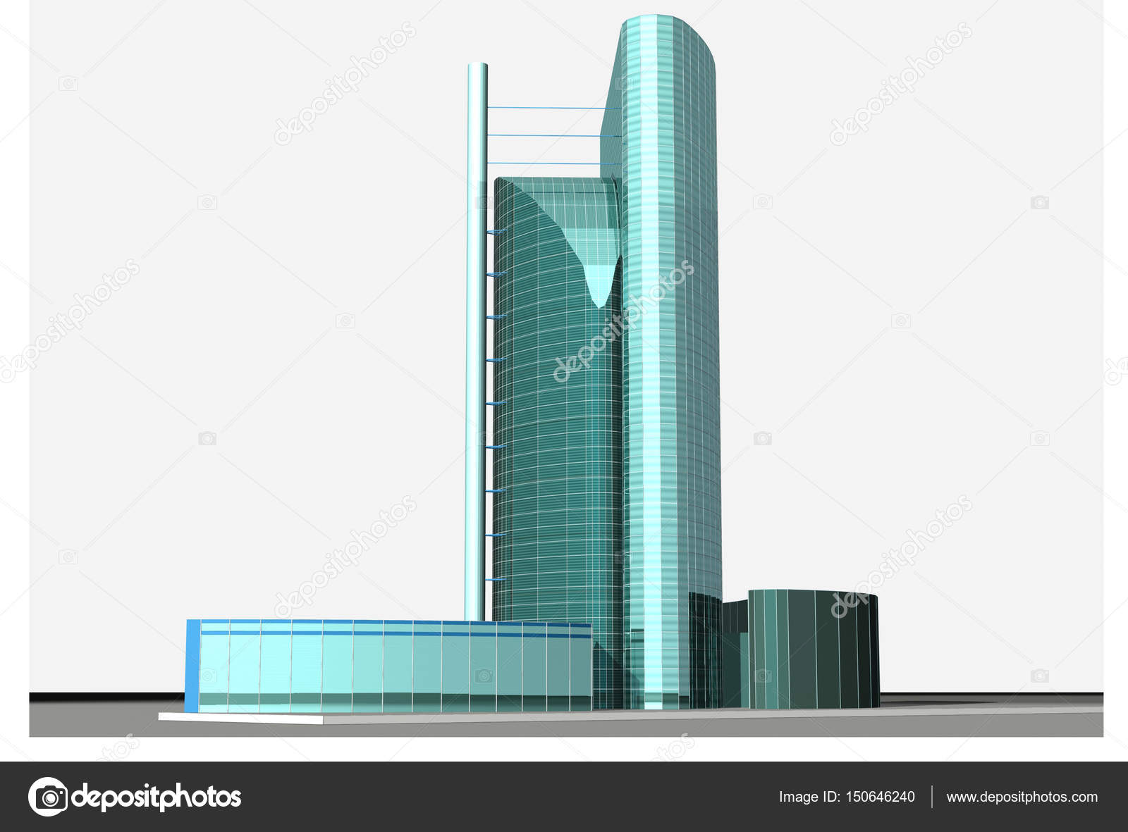 3D model of a skyscraper — Stock Photo © wwaawwaa #150646240