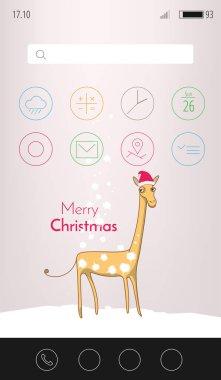 Christsmas greeting card with funny animal