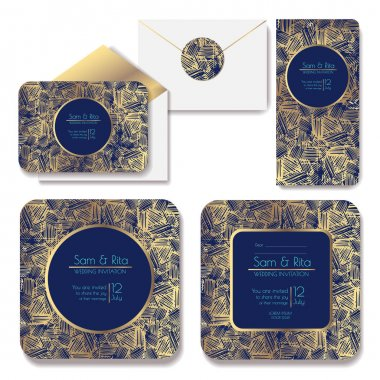 Set of shiny wedding cards