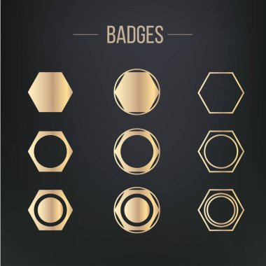 badge shapes and retro stars shapes