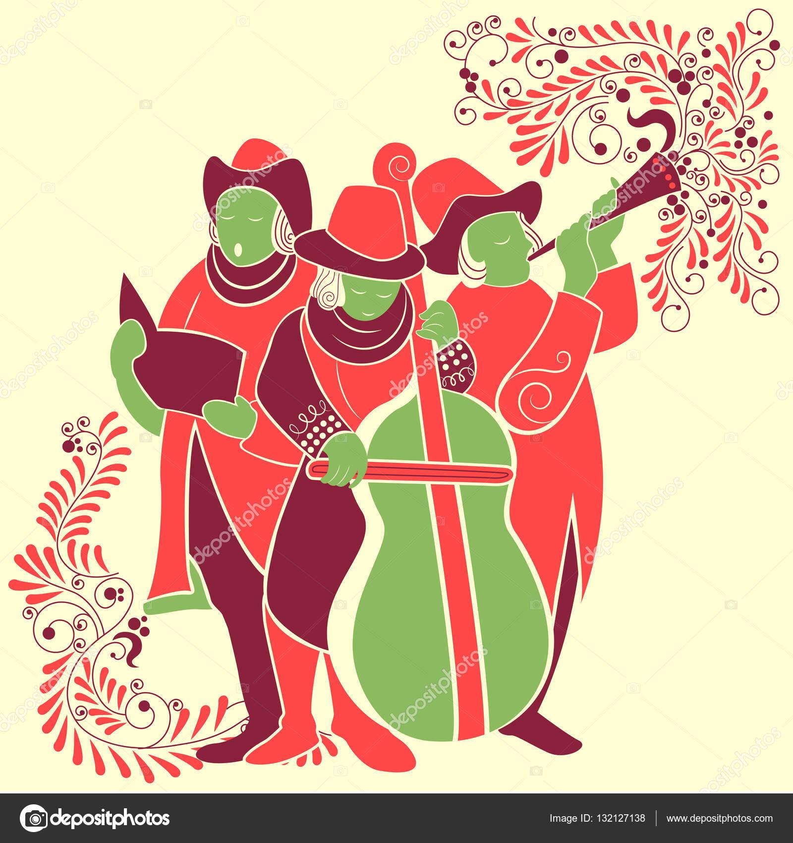 Villancico Feliz Navidad A Todos.Gente Celebrando Y Cantando Villancico Para El Festival